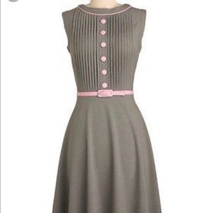 Bettie Page pink and gray fit and flare dress